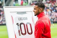 EINDHOVEN - PSV - FC Groningen , Voetbal , Seizoen 2015/2016 , Eredivisie , Philips stadion , 16-08-2015 , PSV speler Jurgen Locadia wordt gehuldigd voor de wedstrijd met zijn 100 duels voor PSV