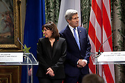 Secretary of State John Kerry USA, meets with mayor of Paris, Anne Hidalgo, in Hotel de Ville, the Hôtel de Ville, City Hall, Mr. Kerry traveled to France to commemorate the country's struggle against terrorism after the Paris terrorist attacks where 17 people died.