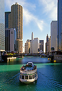 Image of the Chicago River near North Michigan Avenue and the Magnificent Mile, Chicago, Illinois, American Midwest