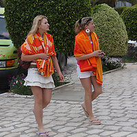 Scenes from Tunisia's resort area, El Kantouai, young women in the tourist area