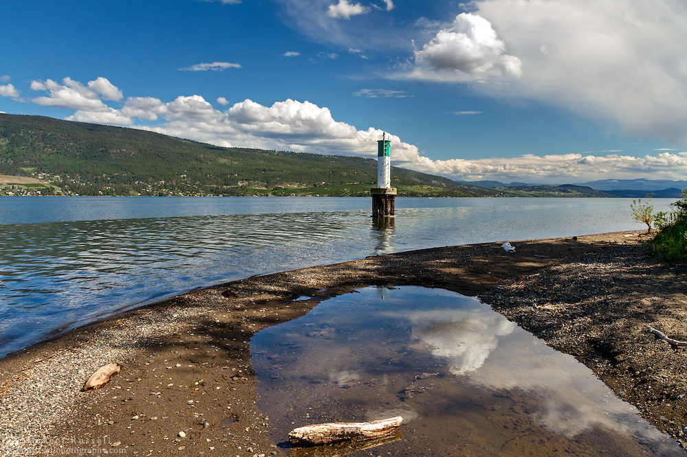 The Shorts Point Lighthouse on Okanagkan Lake at Fintry Provincial Park in British Columbia, Canada