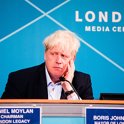 London, UK - 9 August 2012: Mayor Boris Johnson during the Press Conference 'Delivering a lasting legacy from the London 2012 Games' at the London Media Centre