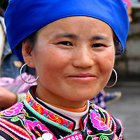 Asia, China, Kunming. Portrain of a  Dong woman, one of the many ethnic minority peoples of southern China.