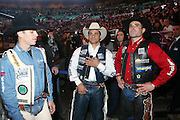 l to r: Mike Lee, Ednei Caminhas and Guilherme Marchi at The Professional Bull Rider's Built Ford Tough Invitational Draft held at Madison Square Garden on January 9, 2009 in New York City..The format of the Built Ford Tough Invitational consists of four rounds of competition with the first three rounds featuring the top 45 qualified riders randomly matched against the sport's rankest bulls.