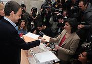 Jose Luis Rodriguez Zapatero, Spanish Prime Minister, votes at Colegio de Nuestra Senora del Buen Consejo in Madrid, Spain, on Sunday, March. 9, 2008. Today Spanish citizen will vote for a new prime minister.