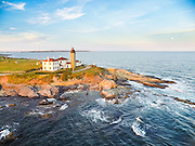 An aerial drone view of Beavertail Lighthouse of Jamestown, Rhode Island.