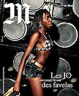 """""""M"""" Le Monde - magazine - """"Les J.O. ont coupé le son des favelas"""" - Cover. Text by Nicolas Bourcier, photos Vincent Rosenblatt"""