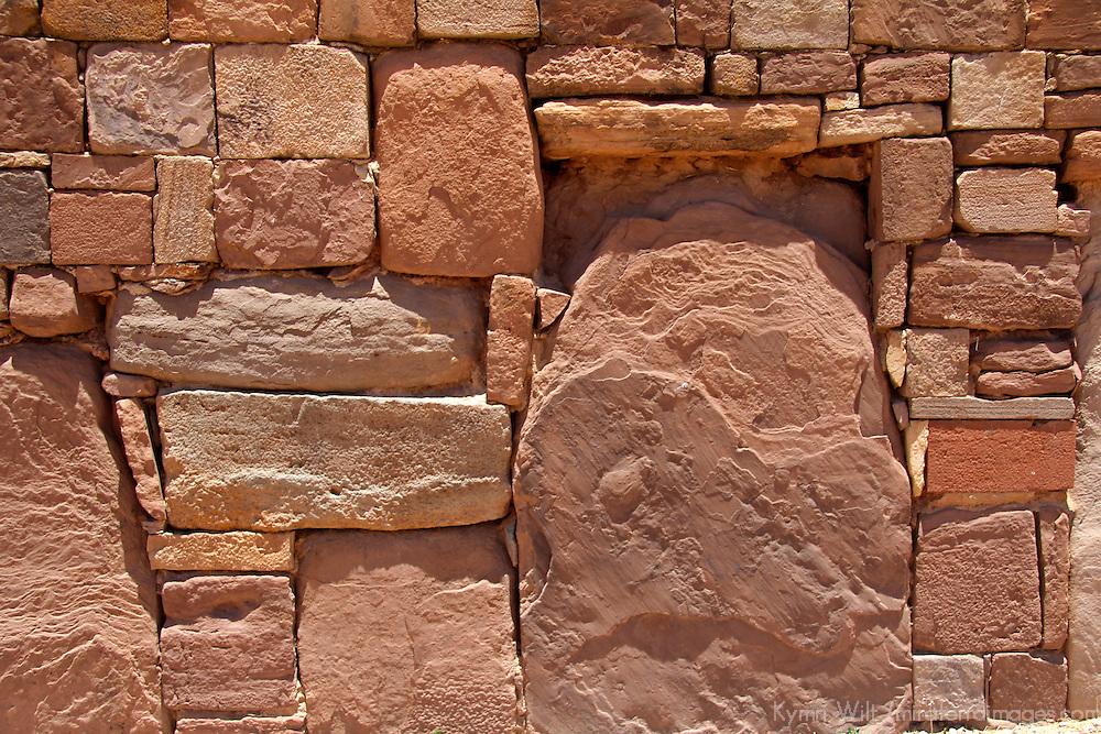South America, Bolivia, Tiwanaku. Kalasasaya Temple Wall at Pre-Columbian archaeological site of Tiwanaku, a UNESCO World Heritage Site.