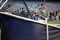 Derek Jeter warms up prior to Game 2 of the 2009 World Series between the New York Yankees and The Philadelphia Phillies in Bronx, NY. (Photo by Robert Caplin)..