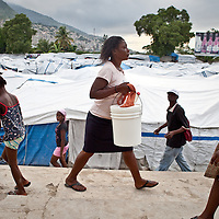 A tent city for people displaced by the January 2010 earthquake that shook Haiti.