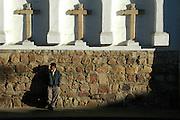 Man waiting outside Iglesia San Francisco, Sucre, Bolivia