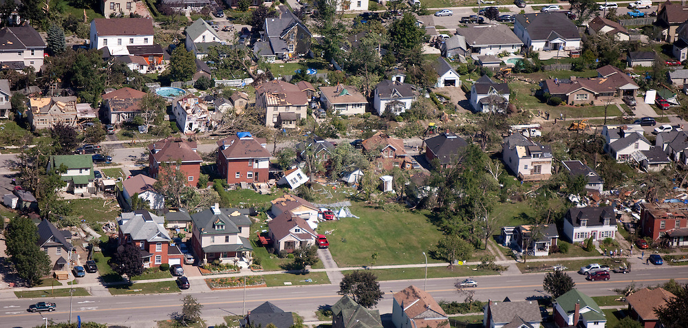 Parts of Goderich, Ontario sit in ruins Monday, August 22, 2011, after a tornado ripped through the town Sunday killing one person.<br /> THE CANADIAN PRESS/ Geoff Robins