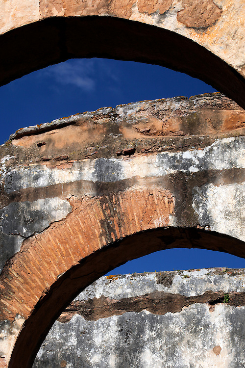 Africa, Morocco, Rabat. Arches of the Chellah ruins.