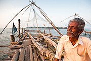 Portrait of a seventy year old fisherman in Fort Cochin, India