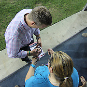 Philadelphia Union Manager JOHN HACKWORTH signs autographs after HACKWORTH Union team defeated D.C. United 2-0 Saturday. August. 10, 2013 at PPL Park in Chester PA.