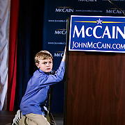 Towns Holland, age 8, celebrates at the Citadel with John McCain and his supporters after McCain's South Carolina Republican Primary win, Charleston, South Carolina, January 19, 2008.