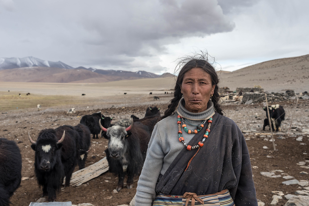A Tibetan nomad woman near Tso Kar lake, Ladakh