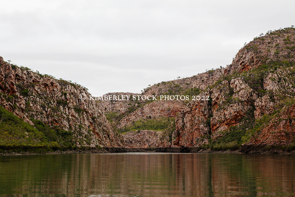 The dramatic anticlines in Cyclone Creek are reflected in still water in the Kimberley wet season.