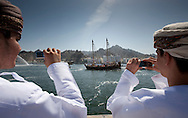 """16th February 2010. Muscat. Oman..Pictures of family, friends and VIP's bidding farewell to the  """"Jewel of Muscat""""  shown here leaving her home port of Muscat as they sail and recreate the origanol historic journey to Singapore."""