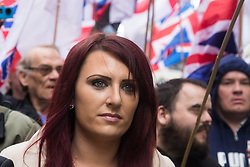 London, April 1st 2017. Jayda Fransen, Deputy Leader of Britain First, a nationalist and anti-Islamic group demonstrates in London following the Westminster terror attack of March 22nd.
