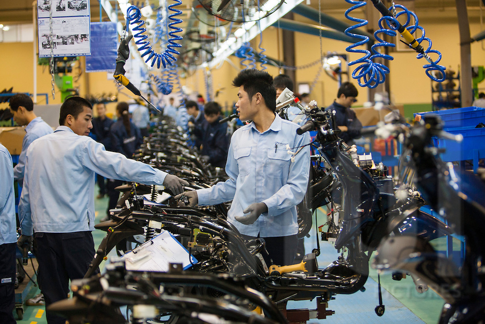 Piaggio (Vespa) assembly line factory in Vinh Phuc, Vietnam, Southeast Asia