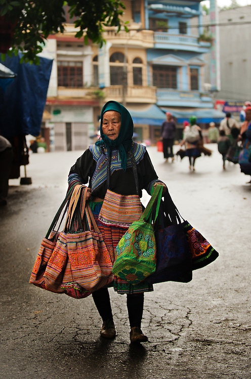 Bag lady of Bac Ha market, Vietnam.