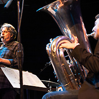 Tony Malaby plays tenor sax with the Tony Malaby Tuba Trio at the Culture Project Theater on Bleeker Street starring Dan Peck playing tuba and John Hollenbeck on drums during the NYC Winter Jazz Fest New York City, NY, Friday January 11, 2013.
