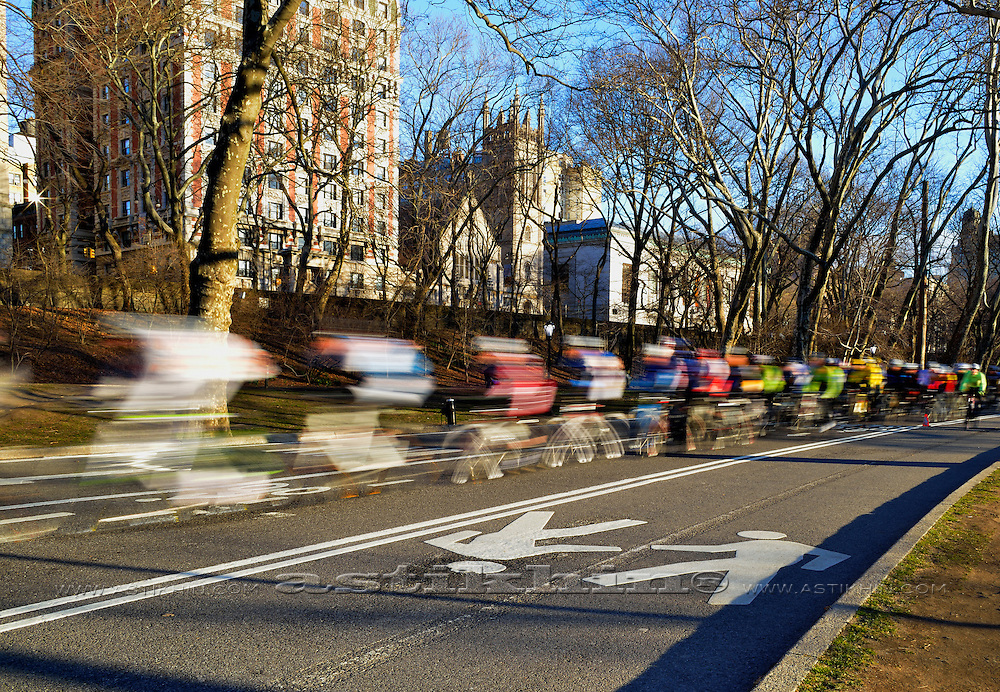 Men riding in bicycle race In Manhattan.