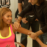 James Kallardos, American make-up artist on set with Beyonce in Paris.
