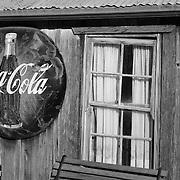 Coca Cola Sign And Old Pane Glass Window - Eldorado Canyon - Nelson NV - Black & White