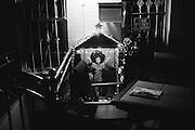 A manger scene, in June, outside an otherwise empty-looking home in Bushwick, NY.
