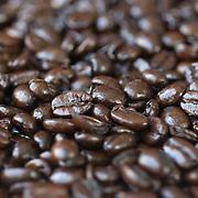 Close-up of espresso coffee beans.