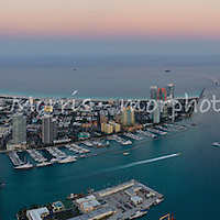 Aerial panorama South Beach and Government Cut with Fisher Island and the Port of Miami