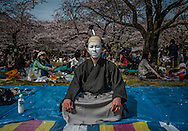 """Tokyo man dressed as an traditional actor at the o-hanami (""""flower viewing"""") in Yoyogi Park.  Tokyo, Japan."""