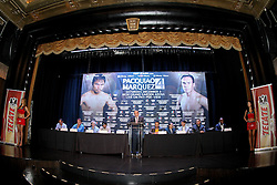 Sept 19, 2012; New York, NY, USA; Promoter Bob Arum speaks during the press conference announcing the fourth fight between Manny Pacquiao and Juan Manuel Marquez at The Edison Ballroom.