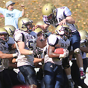 10/20/12 - Wilmington, DE - St. Elizabeth Football - Delaware Military Academy Running Back Krishawn Brown (26) celebrates with his teammates in the endzone after scoring a touchdown in overtime to defeat St. Elizabeth 20 - 14 during a Week 7 DIAA football game Saturday, Oct. 20, 2012, at Baynard Stadium in Wilmington DE.   ..SAQUAN STIMPSON/Special to The News Journal
