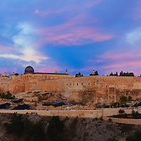 Panoramic view of the Jewish Quarter and Temple Mount of the Old City of Jerusalem shortly before sunrise, as seen from the Mount of Olives. WATERMARKS WILL NOT APPEAR ON PRINTS OR LICENSED IMAGES.