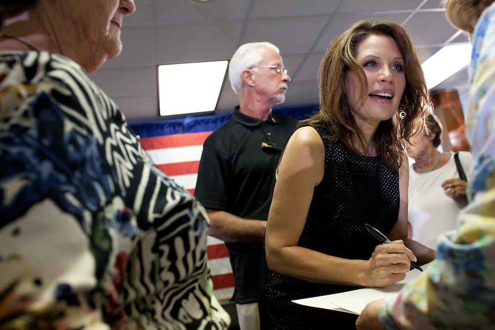 Republican presidential hopeful Michele Bachmann campaigns on Sunday, July 31, 2011 in Storm Lake, IA.