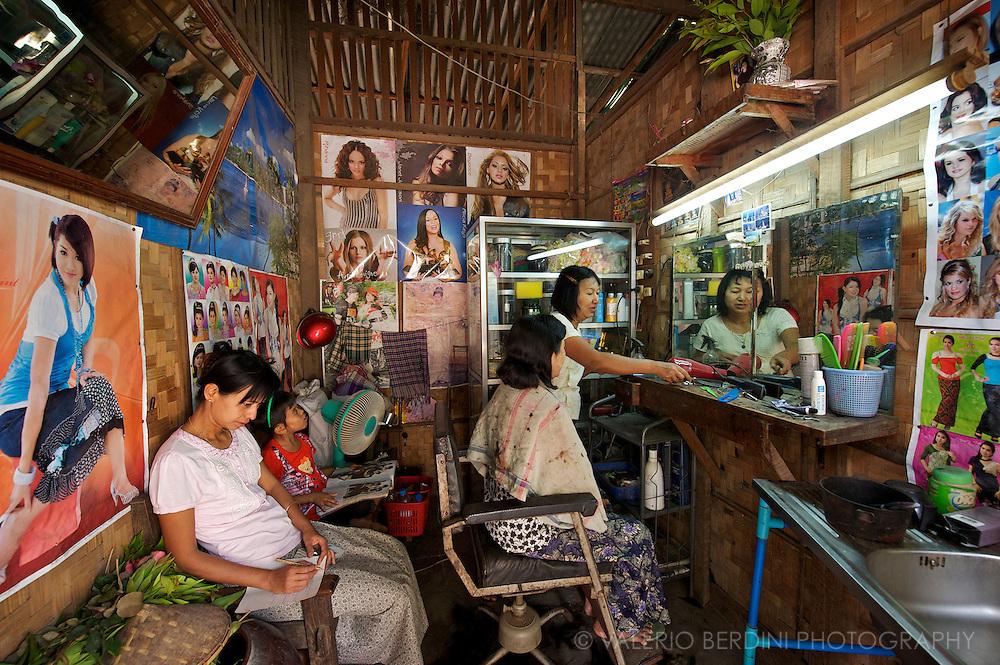 A ladies' salon in Rangoon.