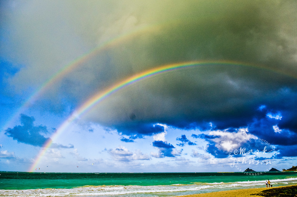 Kailua, Oahu, Hawaii, USA --- Double Rainbow above Kailua Bay