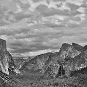 Yosemite Valley Overlook - Sunset - HDR - Black & White