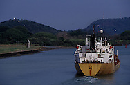 """Ships crossing the """"eclusas"""" of the Panama Channel."""