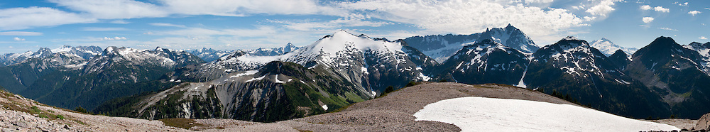 Mount Shuksan and Mount Baker, seen from Hannegan Peak, North Cascades, Washington, USA. Panorama stitched from 8 images.