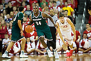 UW-Green Bay guard Charles Cooper (34) reacts to a foul call during the first half of the UW-Green Bay Men's Basketball game versus University of Wisconsin at the Kohl Center, Wednesday, December 14, 2016.