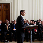 Pres. Obama speaks as he opens up his healthcare discussion Thursday, March 5, 2009...Photo by Khue Bui