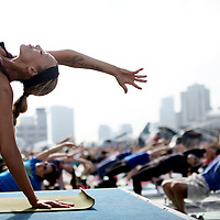 Yoga session aboard the USS Midway on Saturday, June 20, 2015 in San Diego, CA