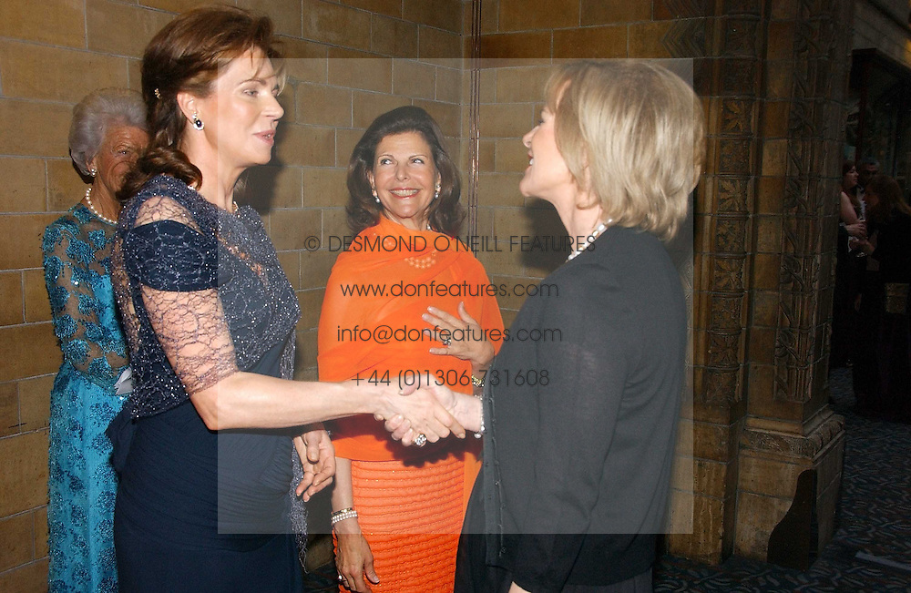 Left to right, HM QUEEN NOOR OF JORDAN, HM QUEEN SILVIA OF SWEDEN and PRINCESS ANNI-FRID REUS VON PLAUEN she was Frida from pop group ABBA  at a gala dinner in the presence of HM Quenn Silvia of Sweden and HM Queen Noor of Jordan in aid of the charity Mentor held at the Natural History Museum, Cromwell Road, London on 23rd May 2006.<br /><br />NON EXCLUSIVE - WORLD RIGHTS