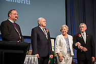 "LCMS President Rev. Dr. Matthew C. Harrison leads the convention's greeting and grateful acknowledgement of ""presidents emeriti"" attending the convention on Wednesday, July 13, 2016, in Milwaukee. To Harrison's left are the Rev. Dr. Robert T. Kuhn, Terry Kieschnick and the Rev. Dr. Gerald B. Kieschnick. LCMS/Michael Schuermann"
