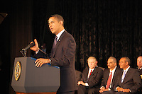 President Obama speaks at the graduation of the 114th Columbus Police Academy.  Seated behind him from right to left, Mayor Mike Coleman, Attorney General Eric Holder, and Governor Ted Strickland.