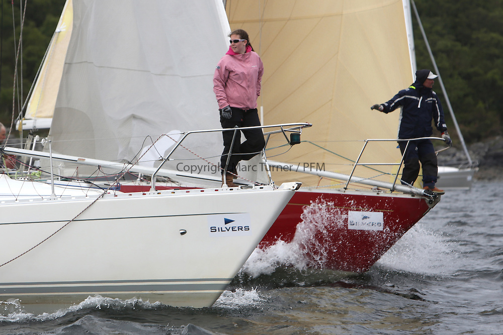 The Silvers Marine Scottish Series 2014, organised by the  Clyde Cruising Club,  celebrates it's 40th anniversary.<br /> Day 2 On the bow with GBR4607, Leaky Roof II, Harper/Robertson, CCC/Cove SC and K4203, Stargazer, G. MacLeod/A. Bisland, CCC / Arran YC , Grand Soleil 34<br /> Racing on Loch Fyne from 23rd-26th May 2014<br /> <br /> Credit : Marc Turner / PFM